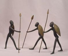 Hagenauer-Art-Deco-Austrian-Vienna-Bronze-African-Warrior