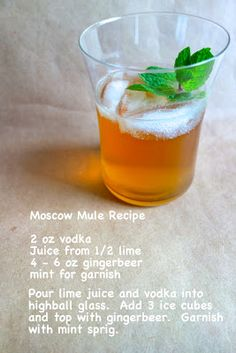 Moscow Mule - throw in the lime peel, garnish with mint, lime or rosemary, and for the love- serve it in a copper cup or mug.