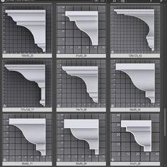 Sweep Profile Shapes vol.1   Kstudio - 3ds Max Plugins & Scripts Modern Exterior House Designs, Modern House Design, Exterior Design, Cornice Design, Window Design, Home Design Floor Plans, Home Room Design, Classic Architecture, Architecture Details