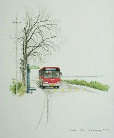 "I want to find a bus that can help me find myself & answer for the question "" who am i ? Watercolor Landscape, Watercolor Paintings, Art Sketches, Art Drawings, Stock Design, Art Anime, Korean Art, Urban Sketching, Jolie Photo"