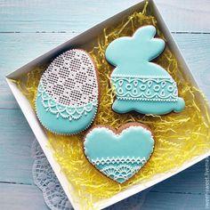 Easter gingerbread / Кулинарные сувениры ручной работы. Ярмарка Мастеров - ручная работа. Купить Имбирный расписной пряник Пасхальный набор_кролик_яйцо_сердце. Handmade.