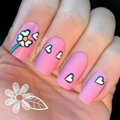 Nail art is very important for those who seek attention! We have gathered 35 stylish nail art designs for you to give a try in Daisy Nail Art, Daisy Nails, Floral Nail Art, Flower Nails, Daisy Art, Heart Nail Designs, Valentine's Day Nail Designs, Nail Polish Designs, Nails Design