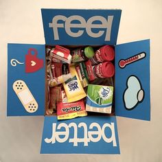 Feel better-themed for a sick/ ill friend/family member living afar. Boyfriend Care Package, Boyfriend Gifts, Homemade Gifts, Diy Gifts, Diy Birthday, Birthday Gifts, Get Well Baskets, Get Well Soon Basket, Feel Better Gifts