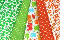 Green & orange kids cotton fabric set with elephants, kangaroos, apples, pears, dots & stars / Zestaw dziecięcy