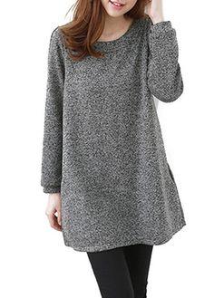 Round Neck Long Sleeve Grey Pocket Dress on sale only US$22.46 now, buy cheap Round Neck Long Sleeve Grey Pocket Dress at liligal.com