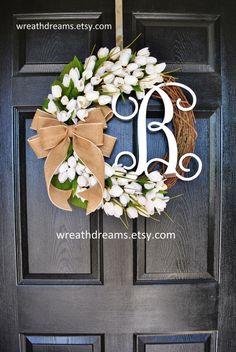 White Mini Tulips Monogram Grapevine Wreath with by WreathDreams