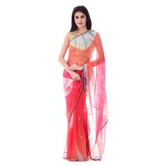 Multi Color Tie-Dye Saree with Paisley Motif Cut-Dana Work With Blouse Piece