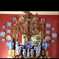 Blue and White Mottahedeh China which I never used so enjoying them on my DR wall .