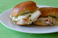 turkey pesto sliders by annieseats. I added a slice of tomato and made them on homemade rolls. Simple and delicious
