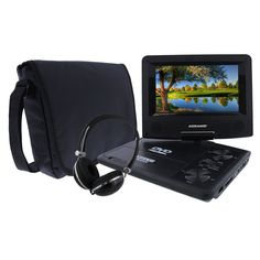 KORAMZI 7 inch Portable DVD Player with Rechargeable Battery, SD Card Slot and USB Port Swivel and Fold Portable DVD/CD/MP3 Player with Matching Color Headphones AC/DC Adapter (Black)- PDVD777