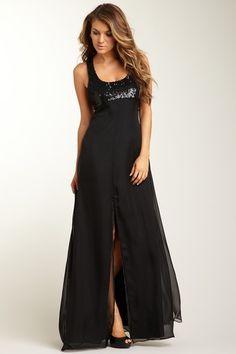 black maxi party dress
