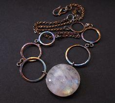Statement necklace Rainbow Moonstone pendant by Studio1980, $245.00
