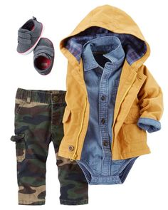 Baby boy camo pants – so adorable with the denim bodysuit and yellow jacket! – All from Carter's Baby boy camo pants – so adorable with the denim bodysuit and yellow jacket! Baby Boy Camo, Baby Boy Swag, Baby Girl Pants, Camo Baby Stuff, Lil Boy, Outfits Niños, Baby Outfits, Toddler Outfits, Kids Outfits