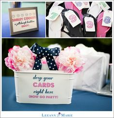 Navy Blue Bright Pink Kate Spade Wedding Details