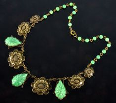 VTG-20-039-S-ART-DECO-MAX-NEIGER-CZECH-JADE-PRESSED-GLASS-BRASS-NECKLACE