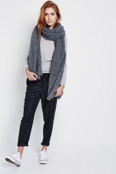 Black chino, white converse, grey sweater, scarf