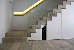 wash grey floors on stairs with storage
