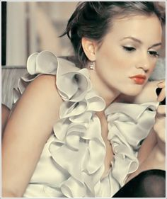 Leighton Meester on the set of Gossip Girl as Blair Waldorf - bill blass ruffle top