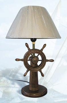 Wood Ship Wheel Lamp