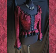 Blouse Auxerre, victorian, steampunk, historical romantic, burgundy lace Somnia Romantica by Marjolein Turin Victorian Blouse, Victorian Fashion, Auxerre, Tussar Silk Saree, Victorian Steampunk, Dress Me Up, Turin, Burgundy, Pure Products