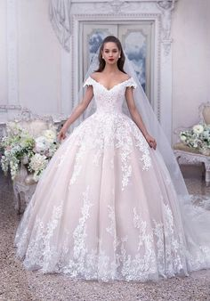 demetrios 2019 bridal cap sleeves off the shoulder v neck heavily embellished bodice hem blush princess ball gown a line wedding dress chapel train 2 mv Platinum by Deme. Princess Ball Gowns, Princess Wedding Dresses, Dream Wedding Dresses, Bridal Dresses, Wedding Gowns, Disney Inspired Wedding Dresses, Lace Wedding, Beaded Dresses, Mermaid Wedding