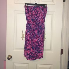 Lily Pulitzer blue and pink dress Strapless printed Lilly dress. Great for the beach or vacation Lilly Pulitzer Dresses Strapless
