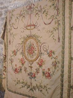 19th century French handworked chateau silk hanging
