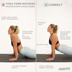 Even seasoned yogis have made the same yoga form mistakes you see on this list. Let's look at some of the most common examples — and some tips on how to fix them from Openfit's yogis. Yoga Routine For Beginners, Gym Workout For Beginners, Qigong, Asana Yoga Poses, Yoga Sequences, Partner Yoga, Tight Hamstrings, Yoga For Kids, Kid Yoga