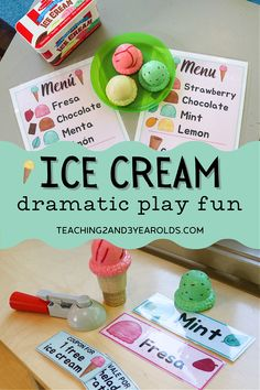 Have fun this summer with these toddler and preschool ice cream dramatic play printables - 34 pages that include English and Spanish versions! Work on patterning, fine motor, and counting during pretend play! #toddler #preschool #dramaticplay #icecream #pretend #English #Spanish #patterns #finemotor #counting #classroom