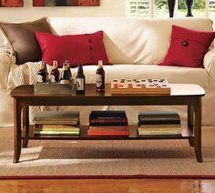 "pottery barn, chloe coffee table.  on sale for $299.  52.5"" wide x 22.5"" deep x 18"" high"