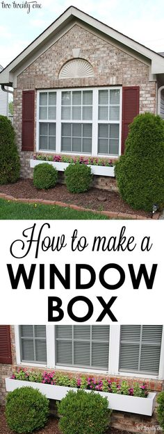 to make a window box! A GREAT way to add instant curb appeal to your home!How to make a window box! A GREAT way to add instant curb appeal to your home! Outdoor Projects, Home Projects, Outdoor Decor, Outdoor Crafts, Outdoor Living, Casas Containers, Plantation, Front Yard Landscaping, Landscaping Ideas