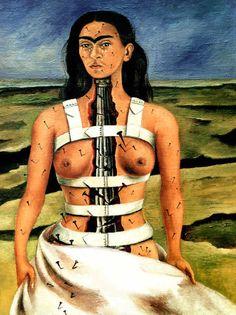 La colonne brisée, 1944, Frida Kahlo (1907-1954), huile sur bois aggloméré (40x30,5). Musée de Mexico.