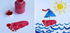 Estampación de paisaje marinero con pintura de dedos.