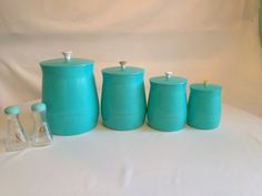 Turquoise Retro Canisters Set Salt and Pepperr Shakers PLAS-TEX Vintage made in Los Angeles on Etsy, $48.00