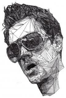 Artist: Josh Bryan {male head sunglasses man face portrait b+w pen drawing} Modern Metropolis, Pen Art, Art Plastique, Portrait Art, Belle Photo, Art Lessons, Painting & Drawing, Illustrations, Pen Illustration