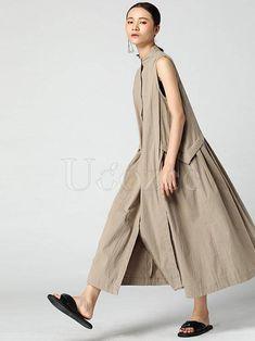 Super Loose False-Two Cotton Long Dress – uoozee Linen Dresses, Casual Dresses, Fashion Dresses, Summer Dresses, Maxi Dresses, Cotton Long Dress, Look Cool, Kaftan, Beige