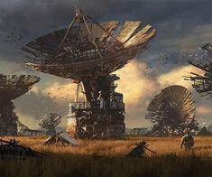 HD wallpaper: four parabolic antennas digital wallpaper, artwork, digital art Post Apocalypse, Apocalypse World, Nuclear Apocalypse, Arte Sci Fi, Sci Fi Art, Apocalypse Landscape, Art Science Fiction, Art Environnemental, Post Apocalyptic Art