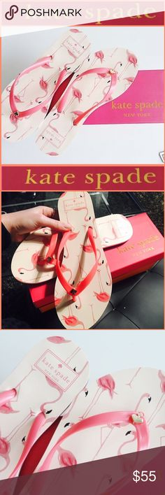 💕♠️Kate Spade Limited Edition Flamingo Sandals♠️ Brand new in box!AUTHENTIC KATE SPADE FLAMINGO PINK FLIP FLOPS SIZE 6 FUN FLAMINGOS COVER THE SANDAL KS NEW YORK SYMBOL IN CENTER OF RUBBER STRAP STRAPS ARE PINK BACKGROUND OF SANDAL IS A BEAUTIFUL PINK/PEACHY COLOR kate spade Shoes Sandals