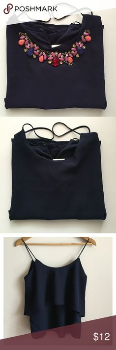 """Navy Ruffle Shirt --NECKLACE NOT INCLUDED--  Navy Ruffle Spaghetti Straps Shirt. Worn Once. Size Small. About 1"""" longer in the back than in the front.  ---------- Materials: 100% Polyester ---------- My Measurements: 5'1 130 lbs I wear a size small Paper Crane Tops Blouses"""