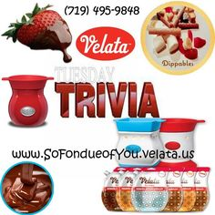 Velata Trivia Tuesday - How many flavors of Chocolate does #Velata have and what are they? (Other consultants not eligible to answer). www.SoFondueofyou.velata.us