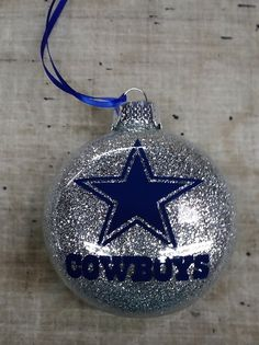Dallas Cowboys Disc handmade glass Christmas ornament