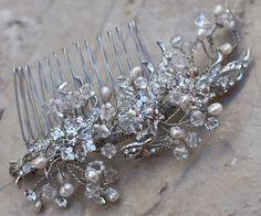 Hair Comes the Bride - Rhinestone Beaded Bridal Comb ~ Nora, $108.00 (http://www.haircomesthebride.com/rhinestone-beaded-hair-comb-nora/)