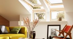 Fill your home with light by installing a Velux or Fakro roof window. Roof Window, Can Lights, Big Houses, Home Interior, Hygge, Oversized Mirror, Sweet Home, Windows, Curtains