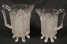 gillinder glass | CLASSIC PATTERN PITCHERS. Circa 1875 Gillinder & Son pressed glass ...