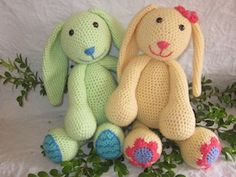 Daisy and Minty the Spring Bunnies - $6.00 (also available individually for $4.00 each) by Melissa Trenado of Melissa's Crochet Patterns | Bunny Rabbits Part 1 - Animal Crochet Pattern Round Up - Rebeckah's Treasures