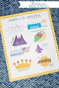 America the Beautiful Patriotic Song for 4th of July. Help kids memorize this patriotic song or use this for holiday decor.