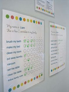 Chore charts: Love how it is laminated on the fridge and includes the quote 'This is how I contribute to my family'