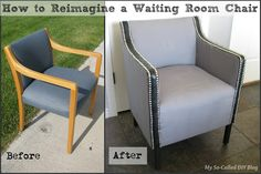 A boring/ugly waiting room chair was totally revamped! Lots of possibilities here. A boring/ugly waiting room chair was totally revamped! Lots of possibilities here. Furniture Projects, Furniture Making, Home Furniture, Furniture Refinishing, Furniture Design, Office Chair Makeover, Furniture Makeover, Dining Chair Makeover, Cubicle Makeover