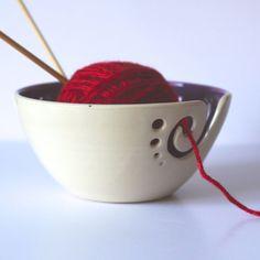 Purple Ceramic Yarn Bowl, Knitting Bowl