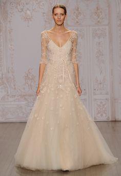Cascading Floral 3/4 Sleeve Wedding Dress   Monique Lhuillier Fall 2015   blog.theknot.com